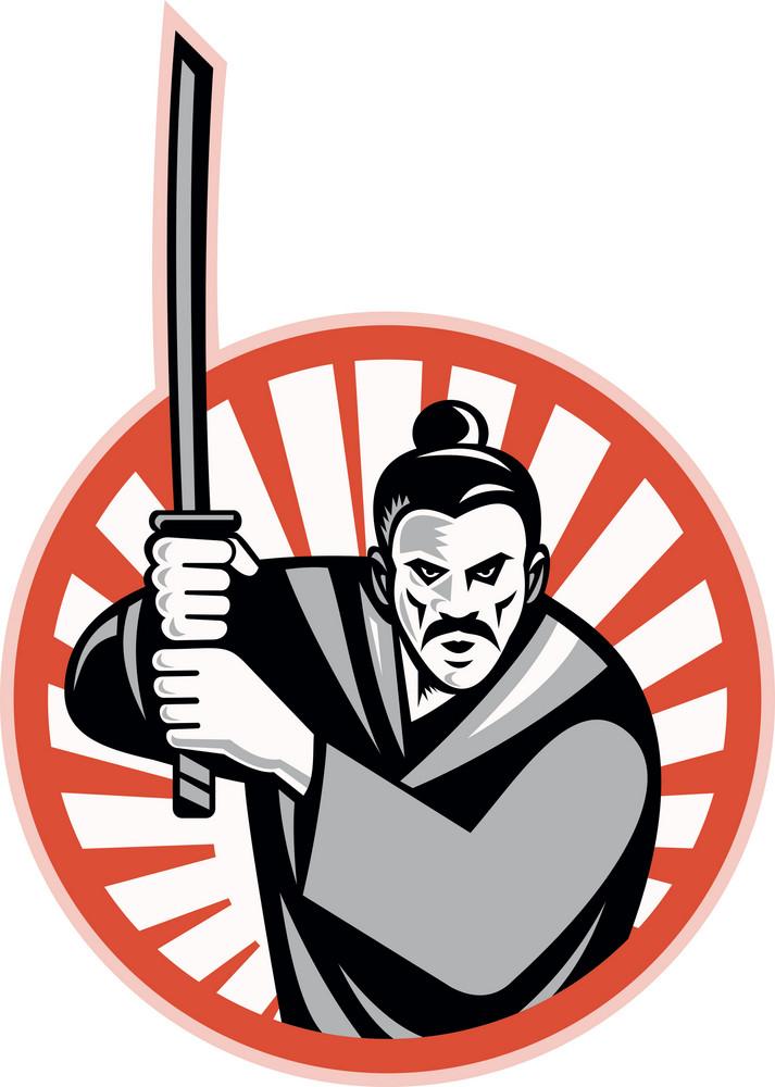 Samurai Warrior Sword Retro
