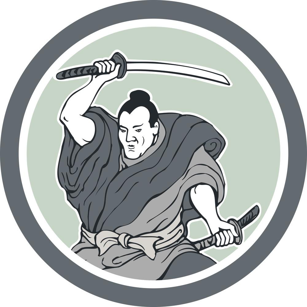 Samurai Warrior Wielding Katana Sword Circle