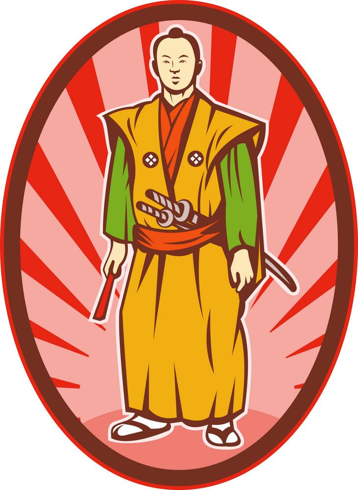 Samurai Warrior With Katana Sword And Fan