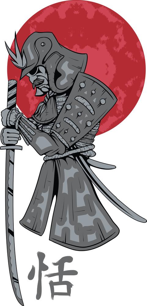 Samurai With Sword Vector T-shirt Design