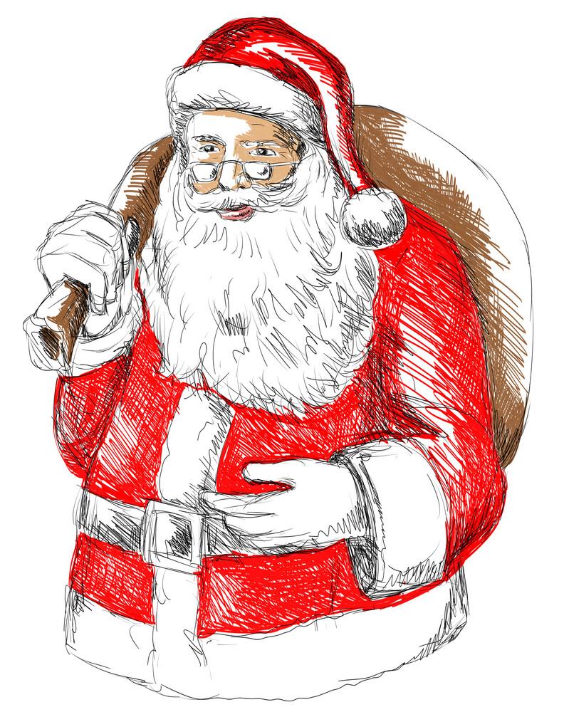 Santa Claus Front Sketch Colour