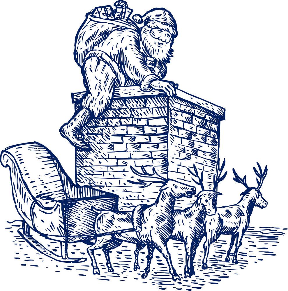 Santa Claus Over Chimney
