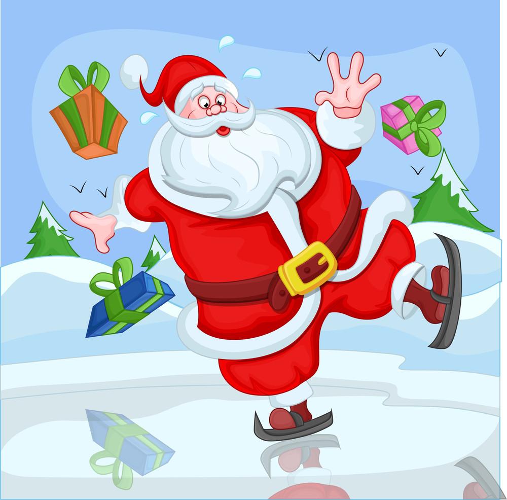 Santa Claus Skiing Funny Cartoon - Christmas Vector Illustration
