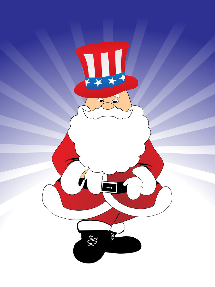 Santa Claus With Blue Ray Background
