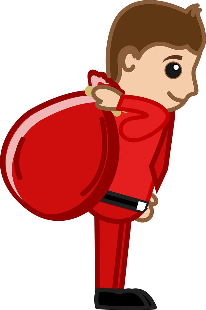 Santa Gifts Bag - Vector Character Cartoon Illustration