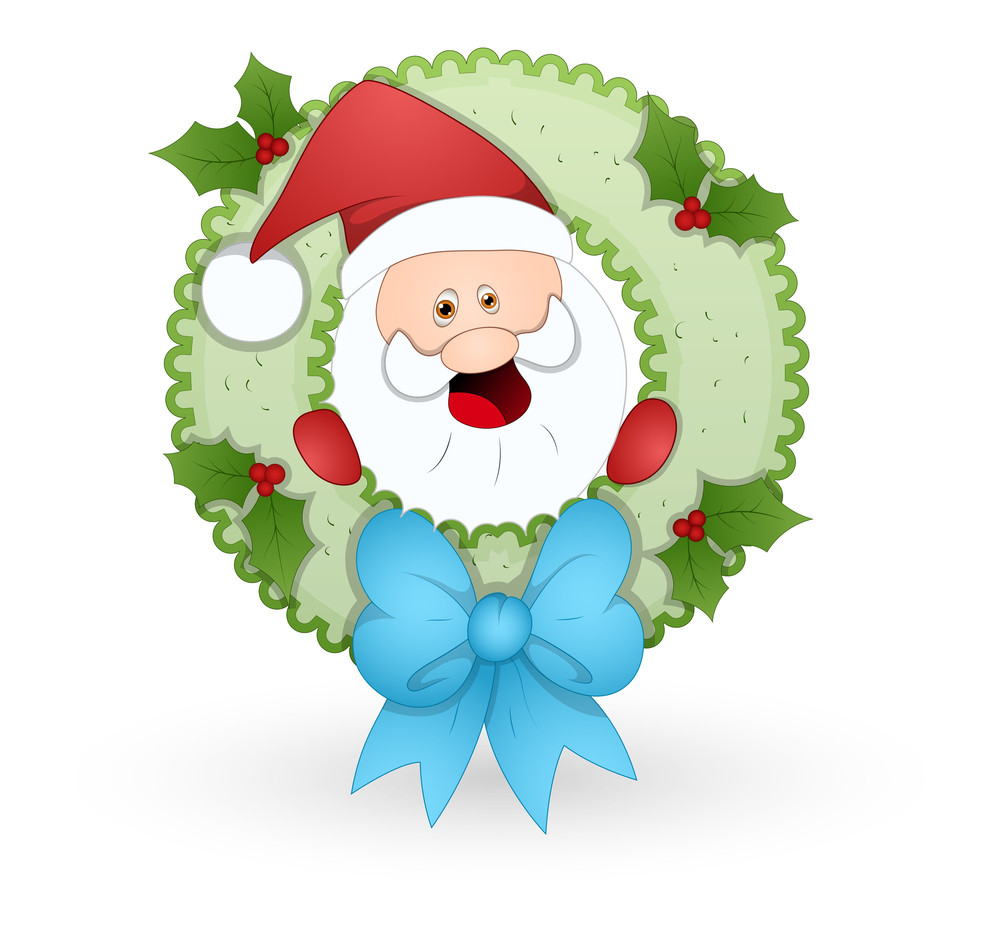 Santa In Wreath Vector Illustration