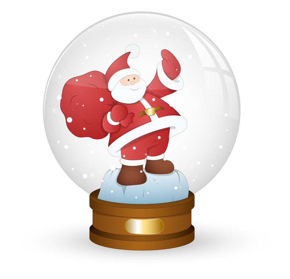 Santa In Xmas Snow Globe