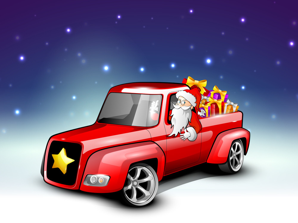 Santa Riding Christmas Car Loaded With Gifts.
