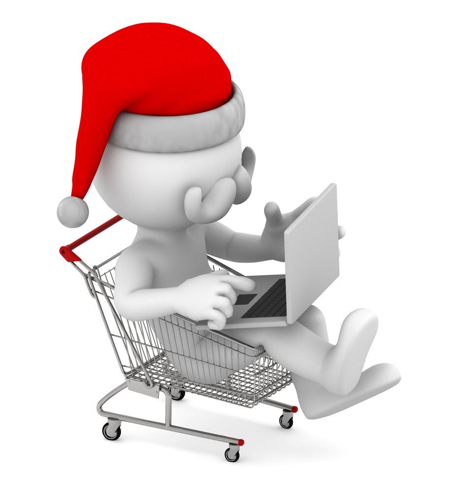 Santa With Laptop Inside Shopping Cart. E-commerce Concept.