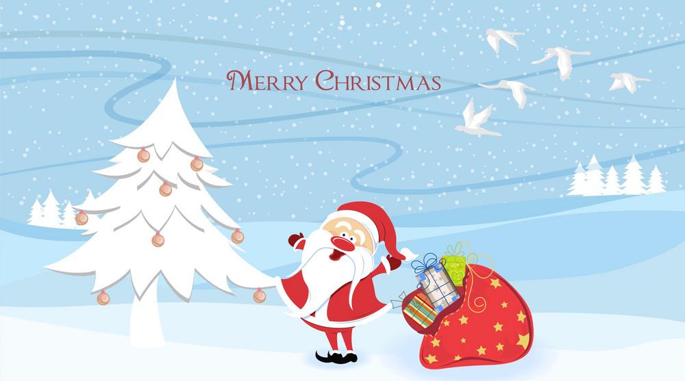 Santa With Tree Vector Illustration