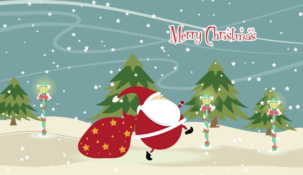 Santa With Trees Vector Illustration