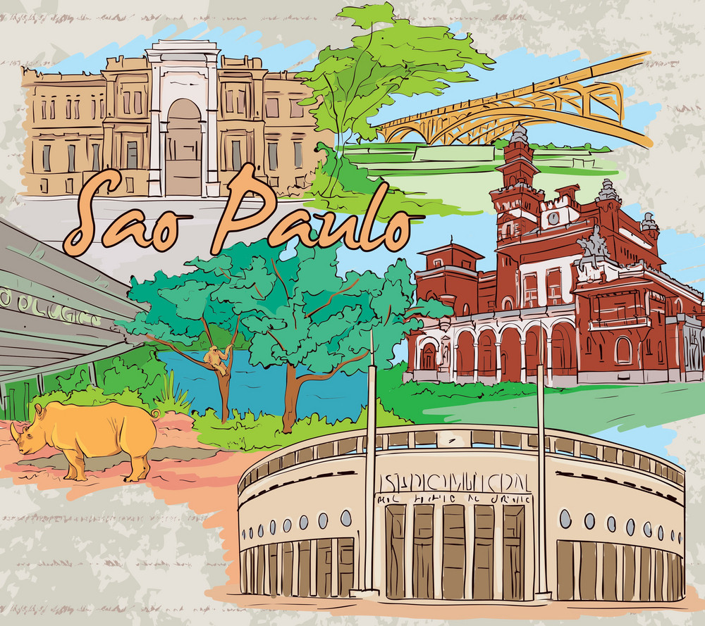 Sao Paulo Doodles Vector Illustration