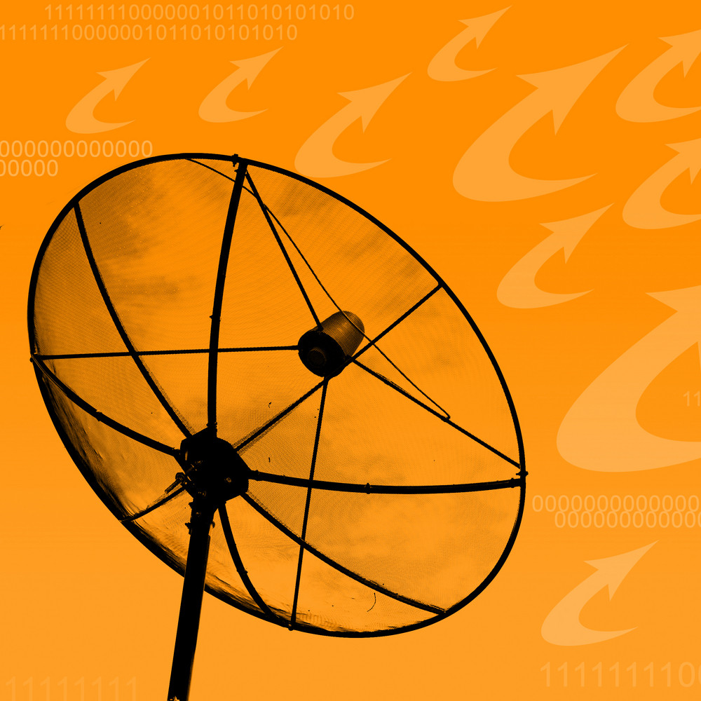 Satellite dish transmission data on orange background