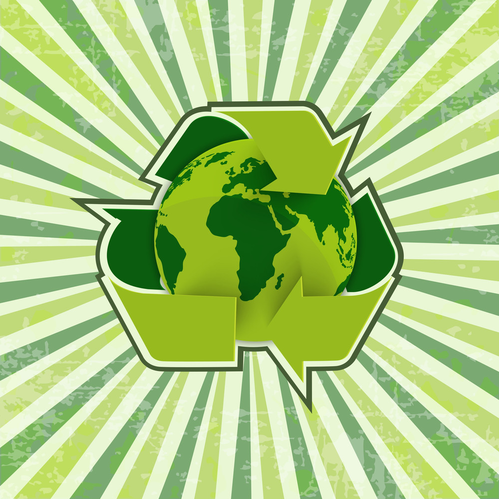 Save The Nature Concept With Recycle Icon And Globe On Vintage Rays Background.
