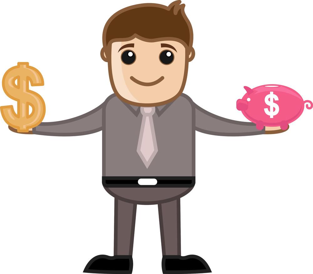 Saving In Piggy Bank - Business Cartoon