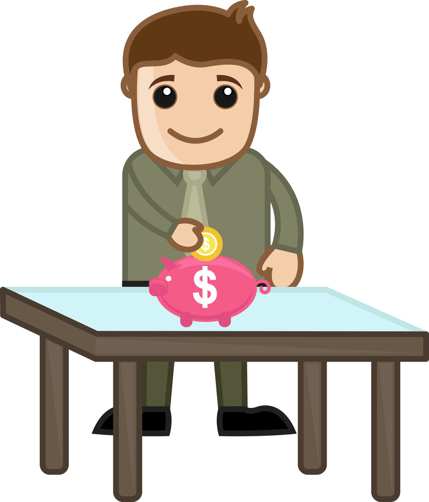 Saving Money - Piggy Bank - Business Cartoon Character Vector
