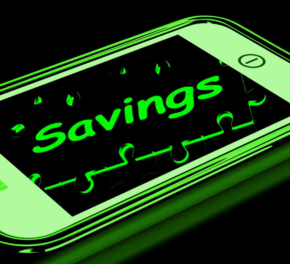 Savings On Smartphone Showing Monetary Growth