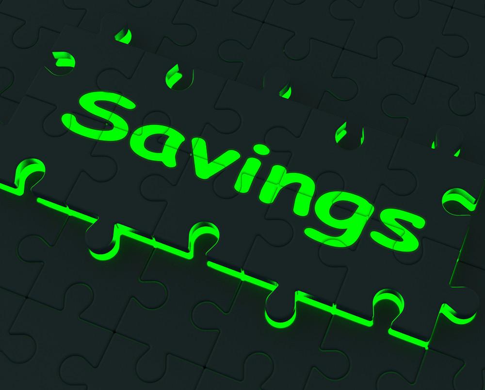Savings Puzzle Showing Monetary Savings