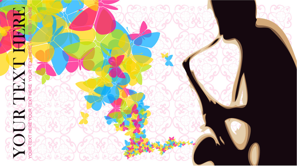 Saxophonist With Butterflies Vector Illustration.