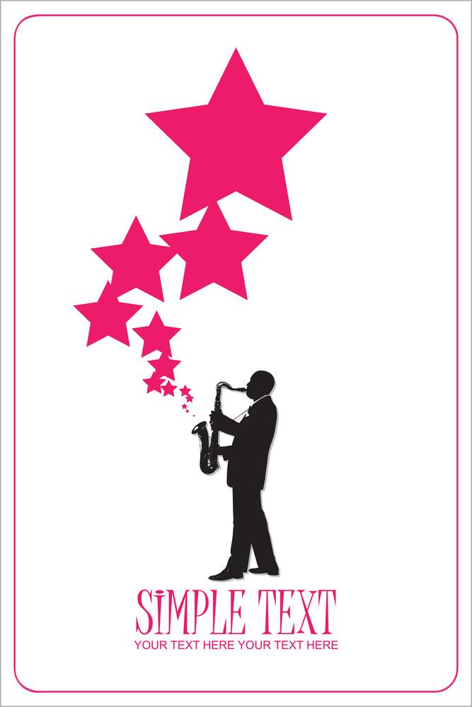 Saxophonist With Stars. Vector Illustration.
