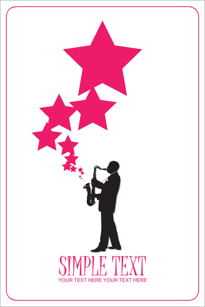 Saxophonist With Stars. Vector Illustration.