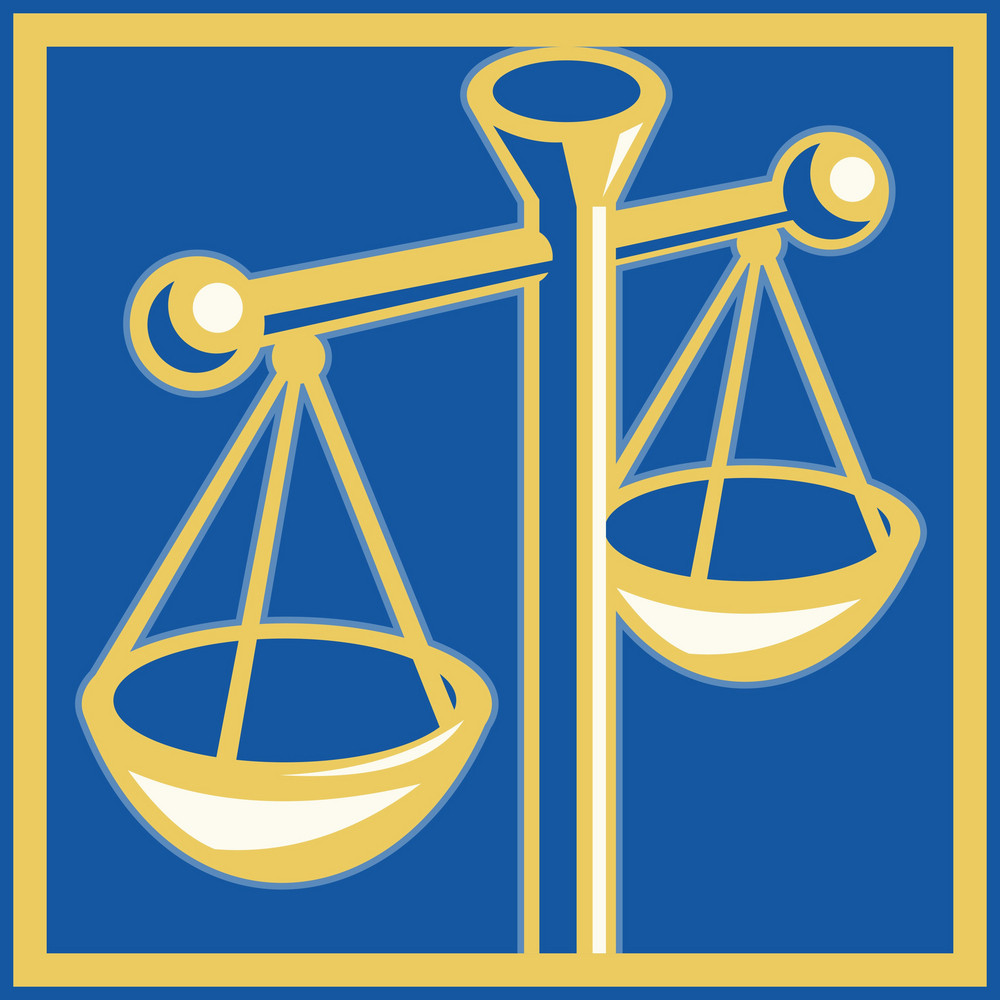 Scales Of Justice Set Inside A Square