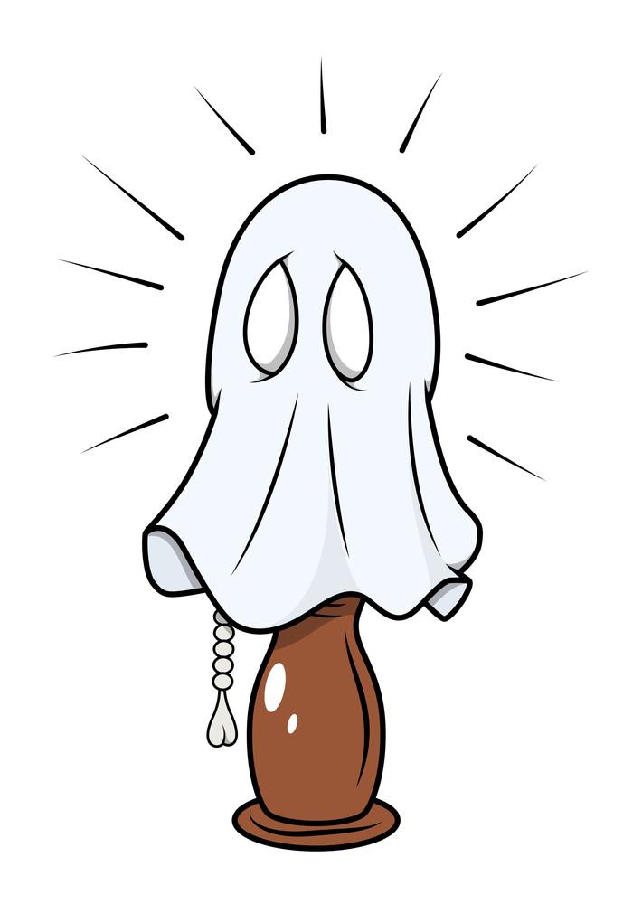 Scared Ghost Hidden In Night Lamp - Halloween Vector Illustration