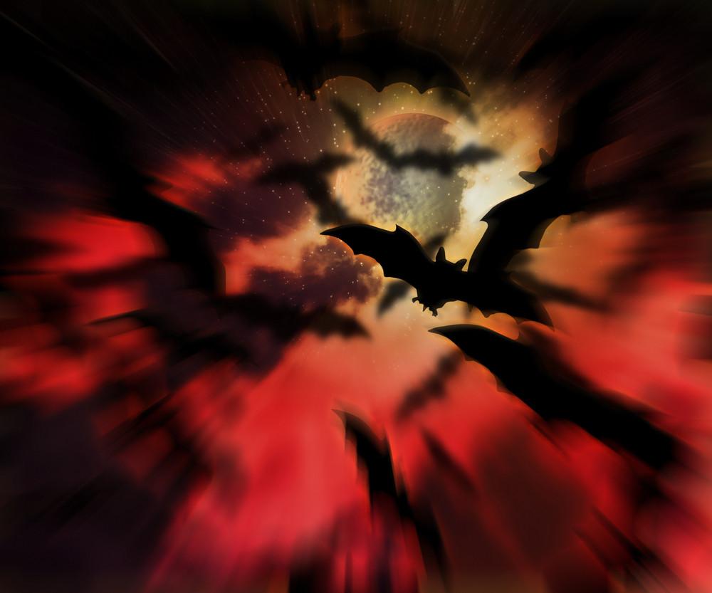 Scary Bats Halloween Backdrop