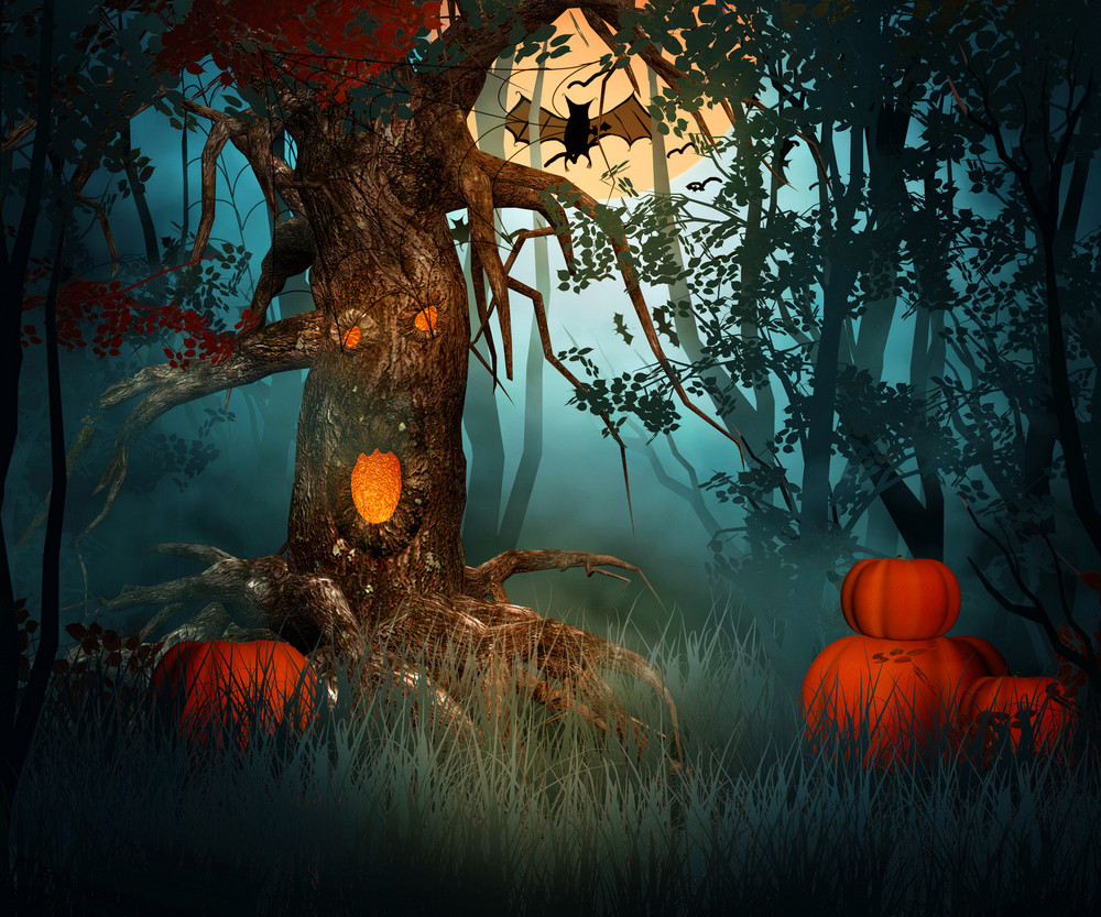 scary forest halloween backdrop
