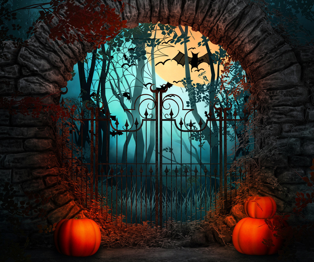 Scary Gate Halloween Backdrop