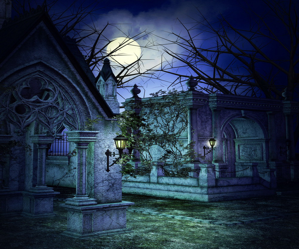 Scary Graveyard Backdrop