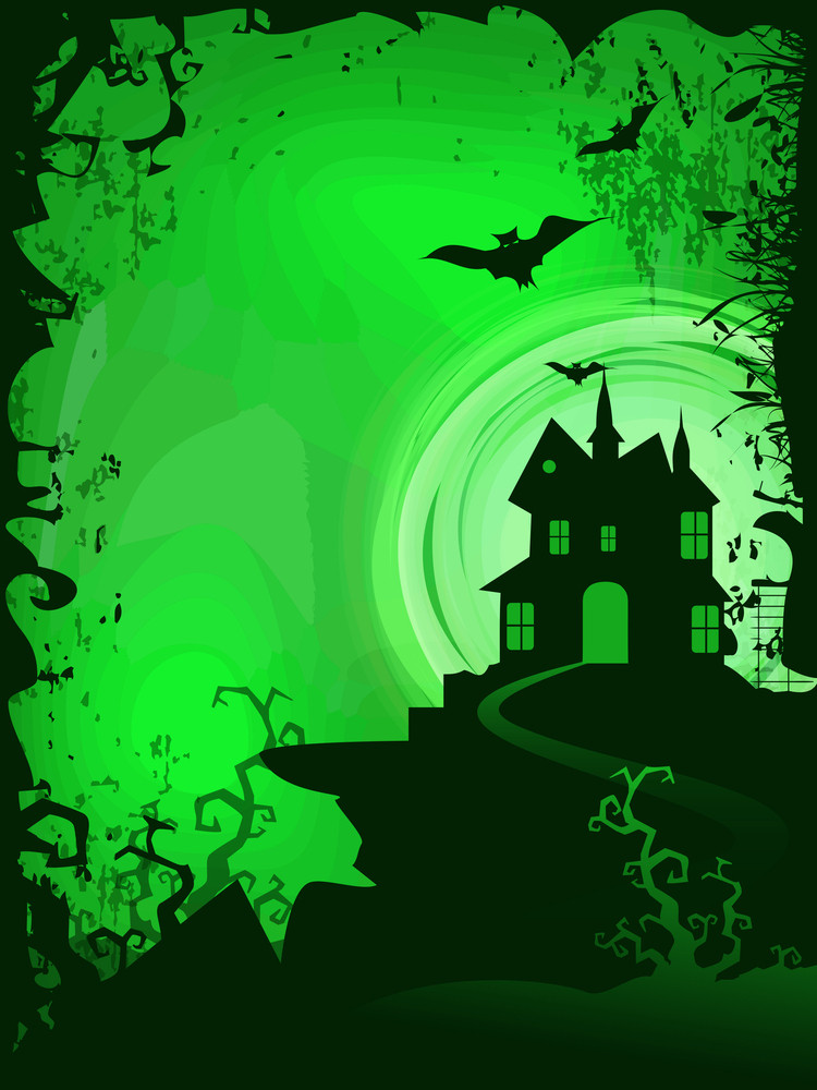 Scary Halloween Background With Haunted House.
