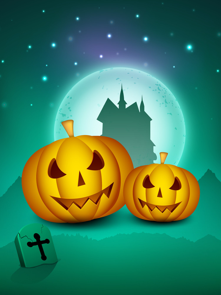Scary Halloween Full Moon Night Background With Pumpkins And Haunted House.
