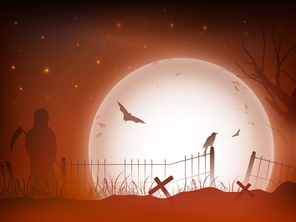 Scary Halloween Full Moon Night Background With Wolf.