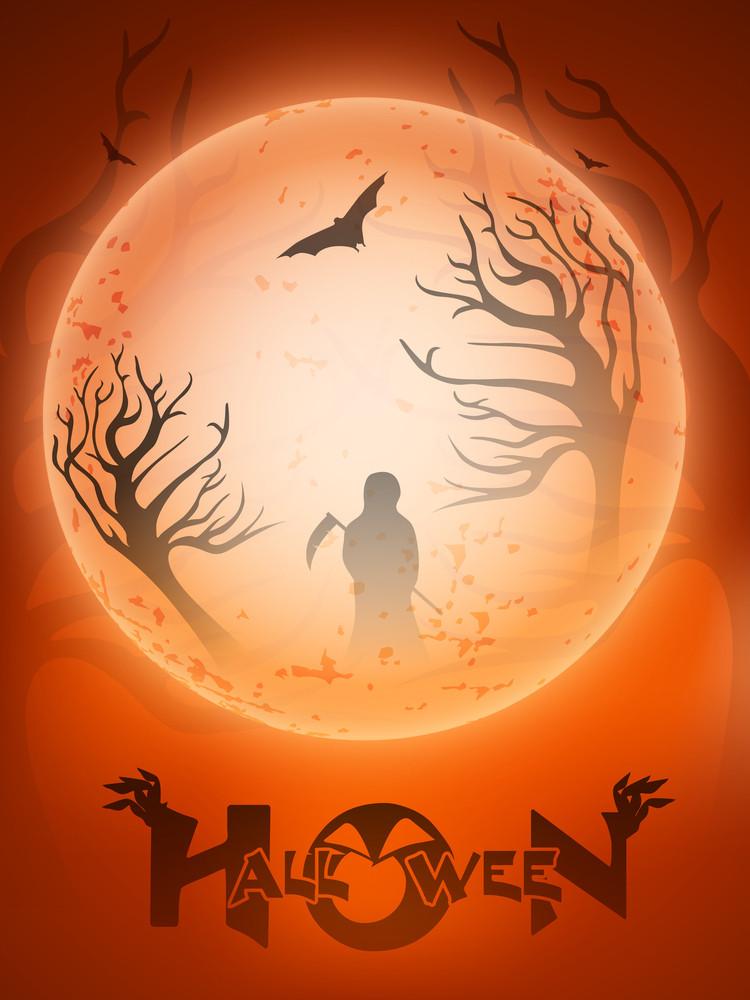 Scary Halloween Full Moon Night Background.