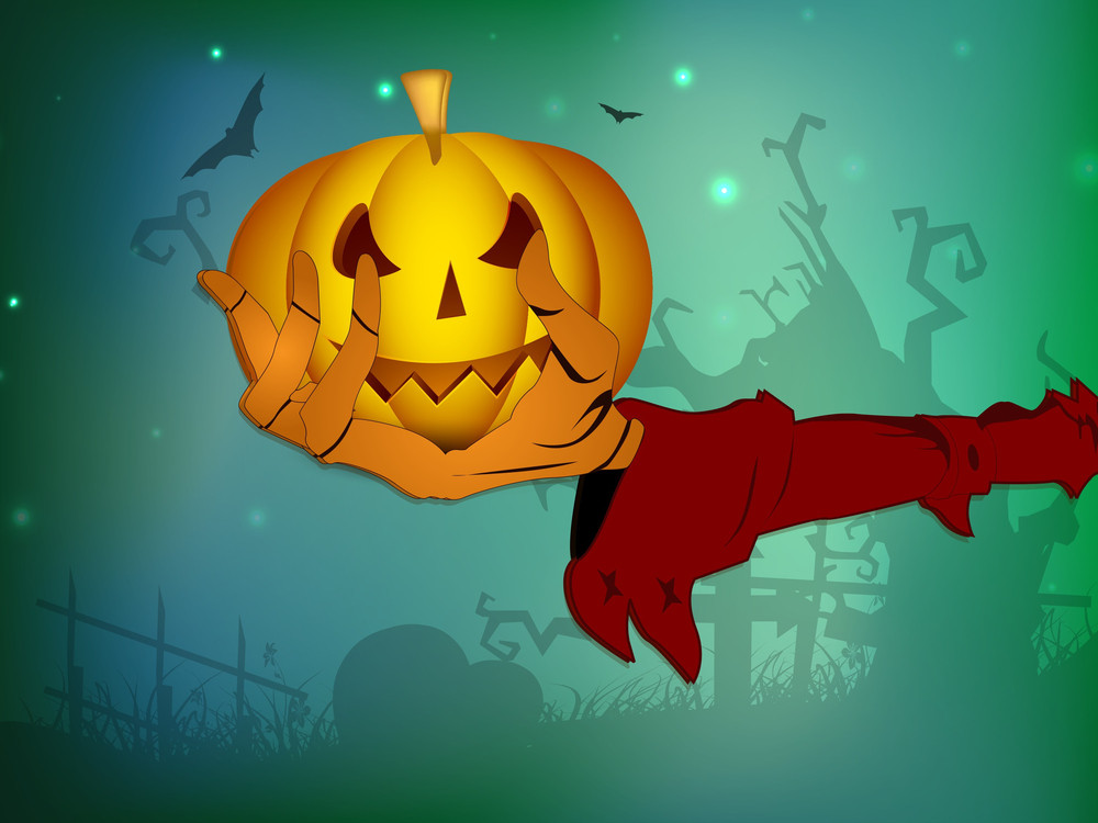 Scary Halloween Pumpkin On The Zombie Hand