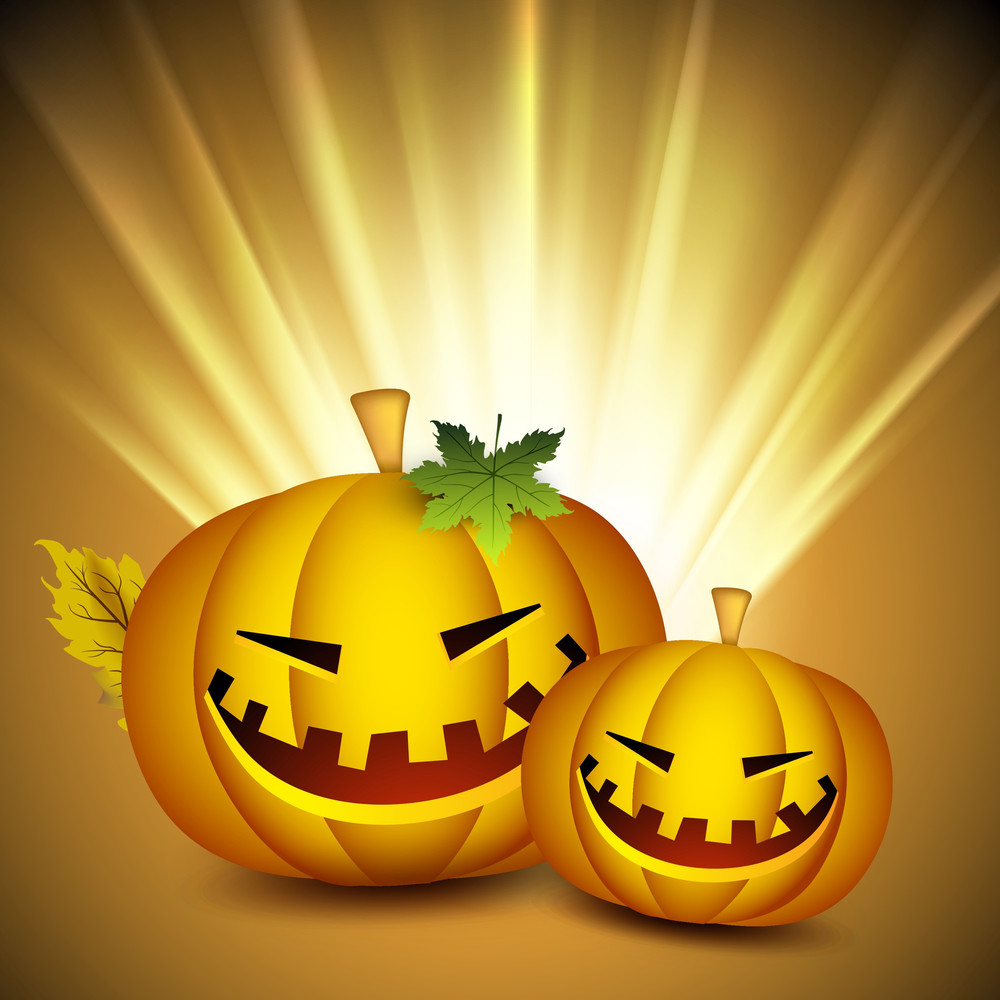 Scary Halloween Pumpkins On Shiny Rays Background