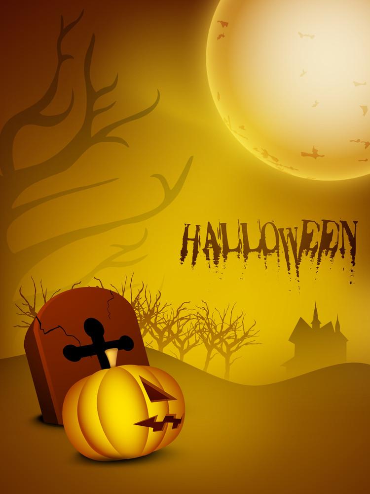 Scary Pumpkin In Full Moon Halloween Night.