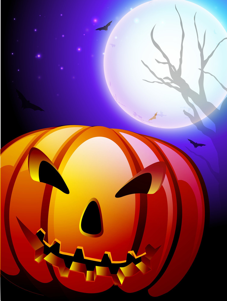 Scary Pumpkin In The Halloween Night Background