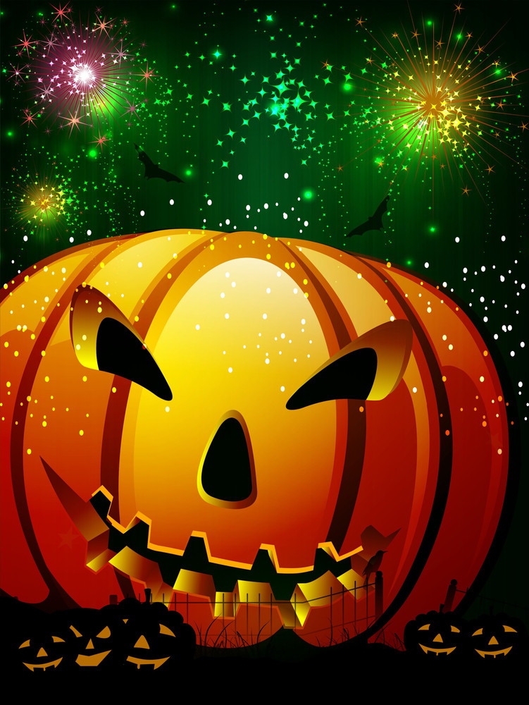 Scary Pumpkin In The Halloween Night