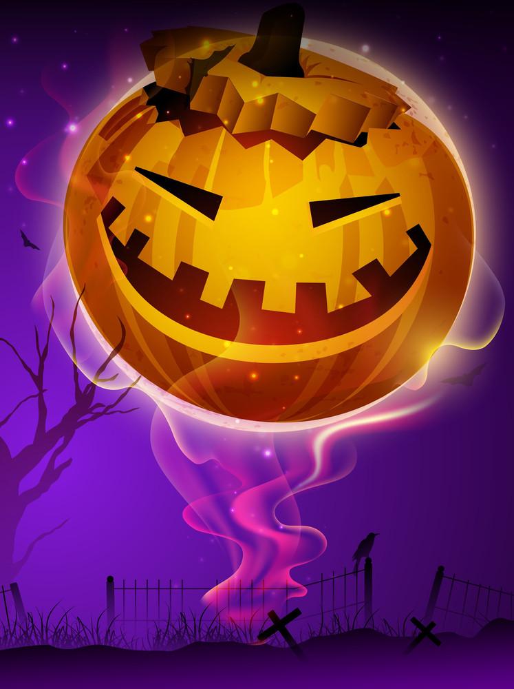 Scary Pumpkin In The Halloween Night