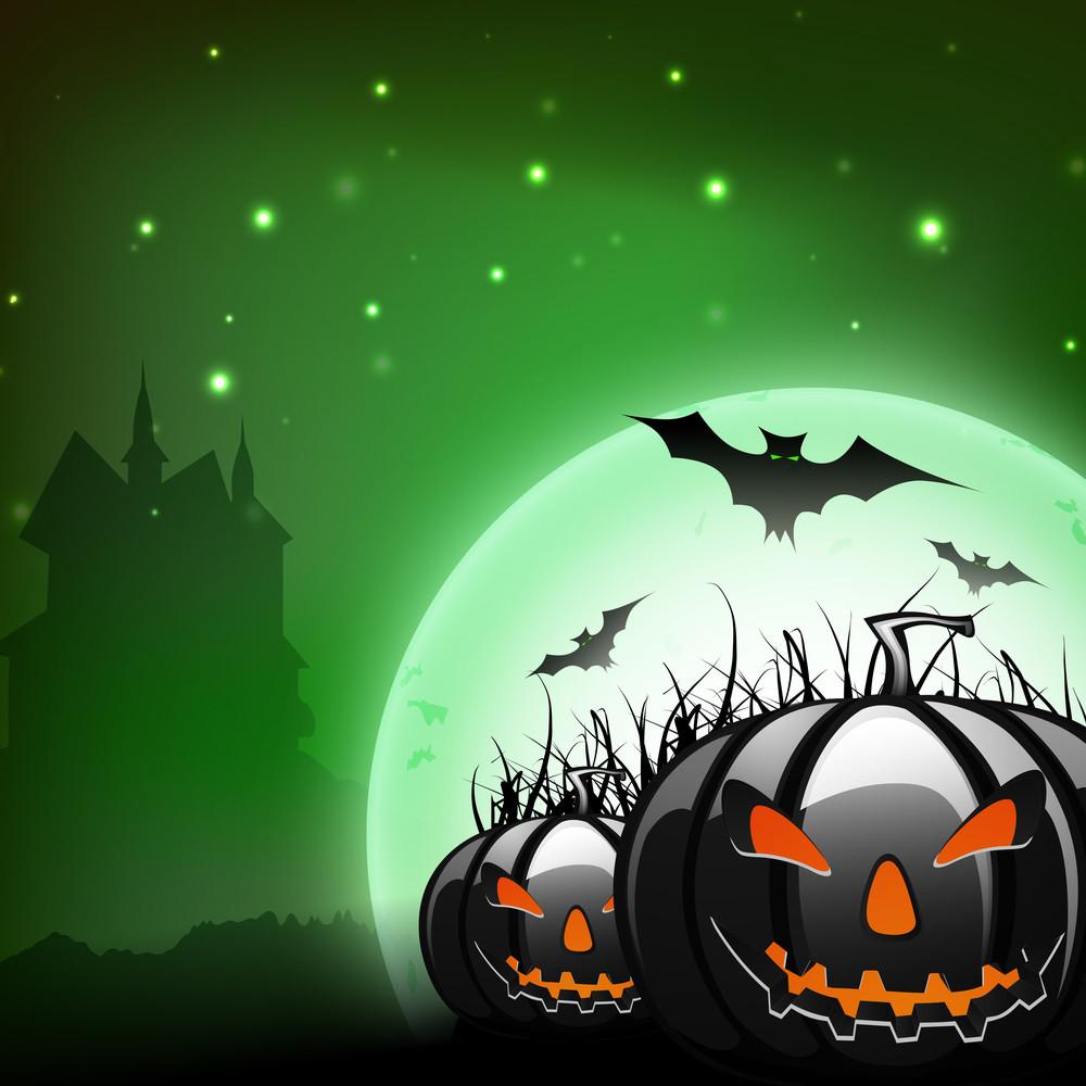 Scary Pumpkins On Shiny Halloween Background.