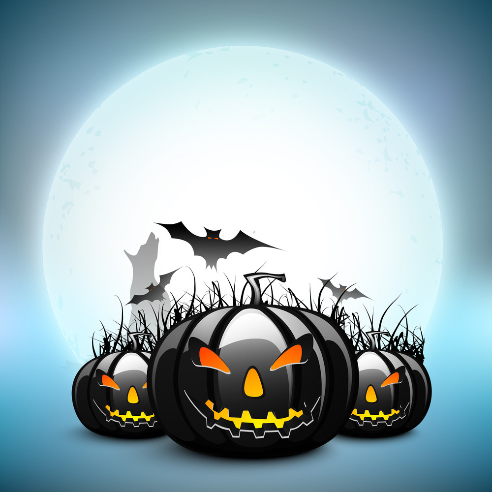 Scary Pumpkins With Flying Bats On Halloween Full Moon Night Background.