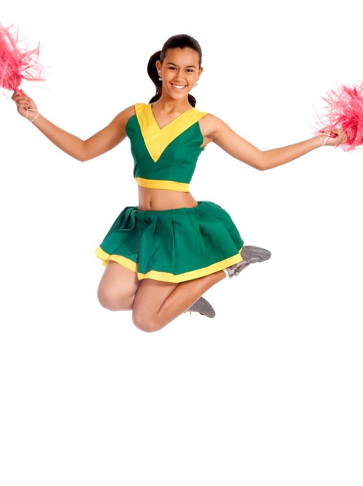 School Cheer Leader Jumping