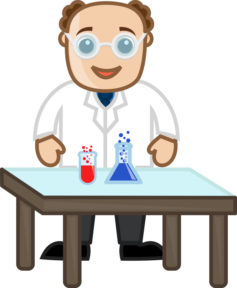 Scientist Experiment With Chemicals - Office Character Vectors