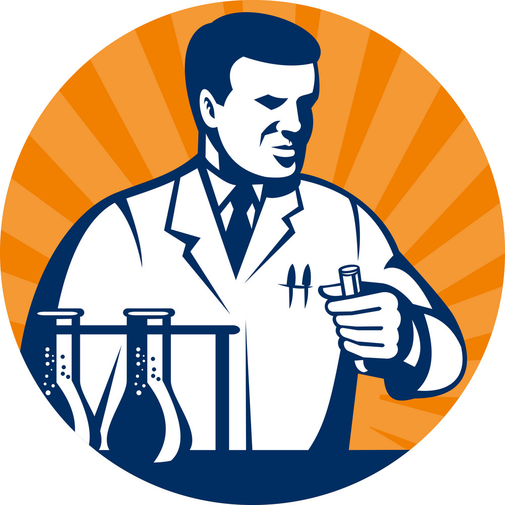 Scientist With Laboratory Apparatus Test Tube