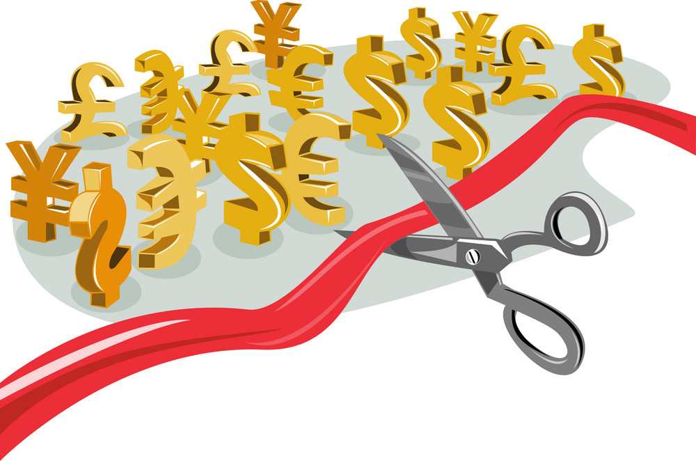 Scissors Cutting Red Ribbon With Currency Signs