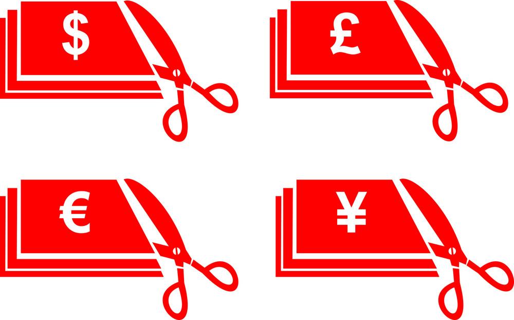 Scissors Money Bill Cut