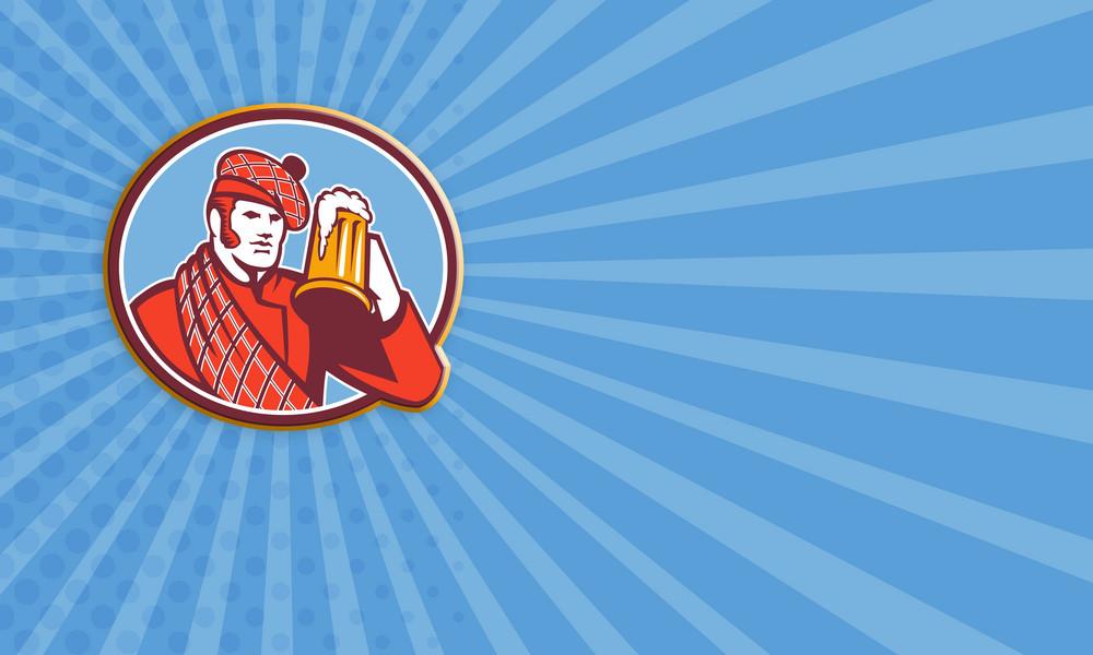 Scotsman Beer Drinker Mug Retro