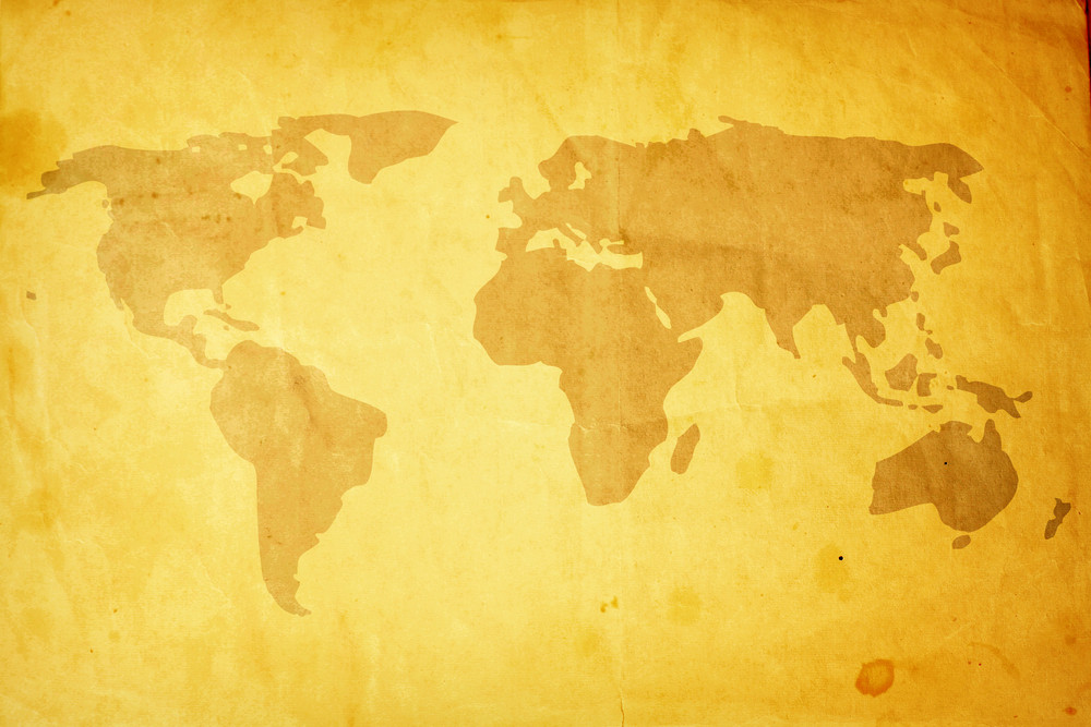 Scratched Grunge World Map Background